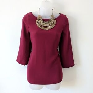 LOFT Blouse Burgundy Red Casual 3/4 sleeves Top XS